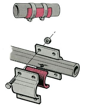 There are several ways to stop a leak in a pipe. For a temporary patch, use a piece of heavy rubber and hose clamps (top) or a rubber pad and two plates that bolt together (bottom).