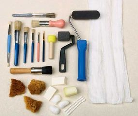 Using a variety of paint brushes and applicators will help you achieve different looks.
