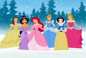 Most of the Disney Princess Collection: Belle, Jasmine, Ariel, Cinderella, Snow White, and Sleeping Beauty.