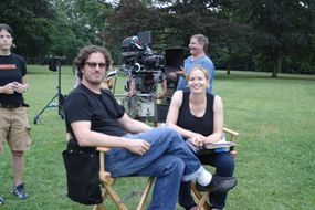"Elisabeth Shue and Davis Guggenheim on the set of ""Gracie"""