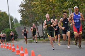 Athletes tackle the running portion of the 2010 Budapest ITU Aquathlon World Championships.