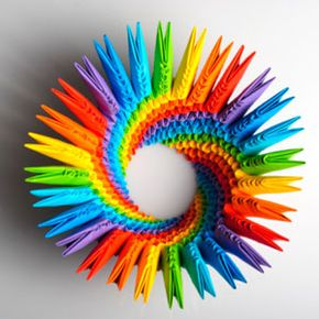 In modular origami, the artist makes many models and assembles them into a bigger piece