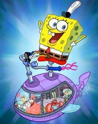 SpongeBob SquarePants is the leader of the ensemble cast. Here, he steers the ship carrying [from left to right] Sandy Cheeks, Patrick Star, Eugene Krabs and Squidward Tentacles.