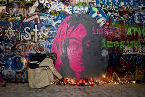 Here's a famous example of spray paint's cultural power: the Lennon memorial wall in Prague.