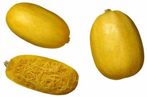 Kids will love pullin the strands out of this squash so they look like spaghetti.