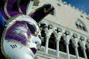 A carnival mask on display at the Piazza San Marco in Venice.
