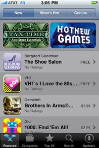 When you first launch the Mobile App Store, you'll see a screen like this one, which highlights featured apps.