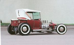 Tommy Ivo's hot rod, Ivo T, was built on a 1925 T touring body with a shortened Model A truck bed in the back. See more hot rod pictures.