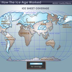 Ice sheet coverage during the last ice age.