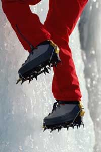 Crampons enable ice climbers to get a foothold.