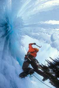 How solid is this ice? An ice climberat Wicked Wanda in British Columbia, Canada