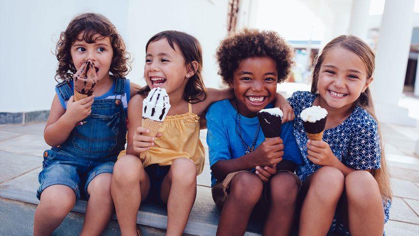 multiethnic children eating ice cream