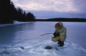 It's important to bundle up while ice fishing.