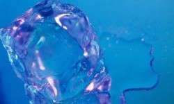 Homemade ice cubes begin with distilled water.