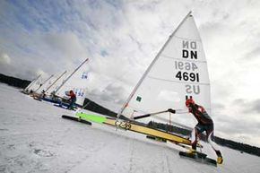 Extreme Sports Image Gallery Ice boats prepare to race on a frozen lake in the Czech Republic. Warmer winters have kept many adventurers from ice sailing as regularly as they might like. See more pictures of extreme sports.