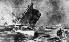 Graphic from the Illustrated London News, 1912: watch from the lifeboats as the ill-fated White Star liner, the 'Titanic', plunges beneath the waves.