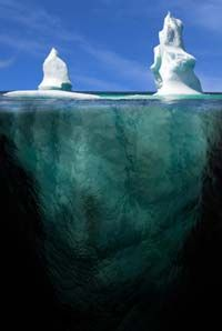 It would be hard to wrap the iceberg below the water line.