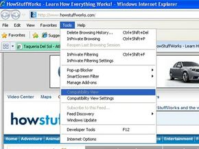 If a Web site looks weird in IE 8, you can use Compatibility View to look at it as if you were using IE 7.