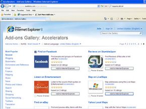 You can choose to add and remove Accelerators applications to Internet Explorer 8 with a couple of mouse clicks.