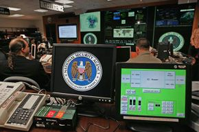 A computer workstation bears the National Security Agency (NSA) logo inside the Threat Operations Center at the NSA in 2006.