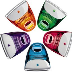 """Apple eventually released an array of candy-colored iMacs. This assortment was featured dancing across the screen to The Rolling Stones song """"She's a Rainbow"""" in a popular ad campaign."""