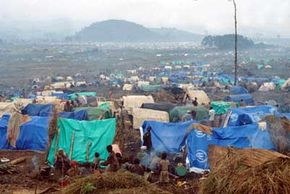 After the genocide in Rwanda in 1994, many refugees fled to camps such as this one, located in what's now known as the Democratic Republic of Congo.