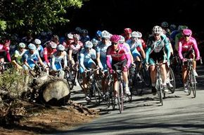 Cyclists ride up a hill during Stage 2 of the Tour of California in Lafayette, Calif., Tuesday, Feb. 21, 2006.