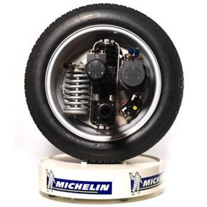 Michelin's Active Wheel system contains not only the electric motor that actually drives the wheel, but also the braking system and an active suspension system, too.