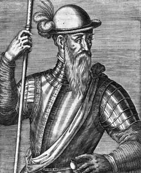 Spanish explorer Francisco Pizarro (c.1476-1541), who conquered the Inca Empire in Peru, established Lima as the country's capital, and melted down vast amounts of Inca gold and silver for his own gains.