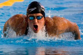 Ryan Lochte of the United States swims to the gold medal in the final of the Men's 400m Individual Medley, at the FINA Swimming World Championships in Rome, on Aug. 2, 2009.
