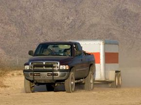 Pickup truck towing a load