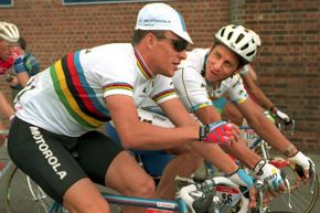 Before the controversy: LeMond and Armstrong chatting during the fifth stage of the 1994 Tour de France.