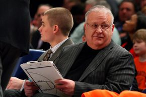Bernie Fine on the sidelines at a game between the Syracuse Orange and the Connecticut Huskies during the quarterfinals of the Big East Tournament in Madison Square Garden on March 12, 2009 in New York City.