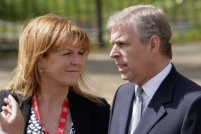 Sarah Ferguson and Prince Andrew awaiting their daughter Princess Beatrice at the finish line of the Virgin London Marathon in April 2010.