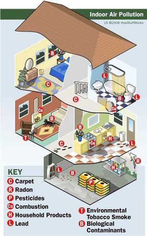 The common household contains many potential sources of indoor air pollutants.