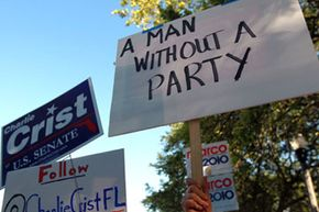 In 2010, Florida Gov. Charlie Crist made headlines with his announcement that he was exiting the Republican Party and running for U.S. Senate as an independent. See American Politics in Souvenirs and Slogans Pictures.