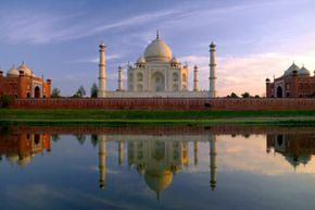 The Taj Mahal, a UNESCO World Heritage Site, is seen here reflecting in the Yamuna River in the late afternoon sun.