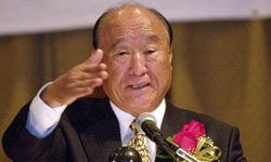 Rev. Sun Myung Moon, founder of the Unification Church, speaks to a crowd of followers in St. Louis, Mo.