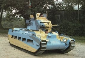 This Matilda II Infantry Tank Mark II wears the markings of the 7th Royal Tank Regiment. Shown here is the British camouflage paint scheme used in Egypt before World War II.