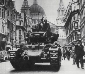 A Matilda II Infantry Tank Mark II A-12 parades down Ludgate Hill and past St. Paul's Cathedral in London at the start of World War II.