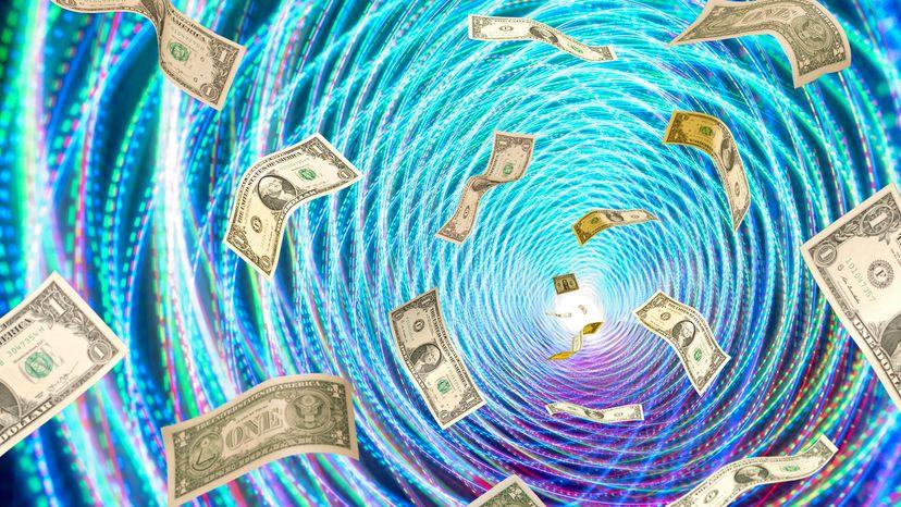 money in a vortex, illustration