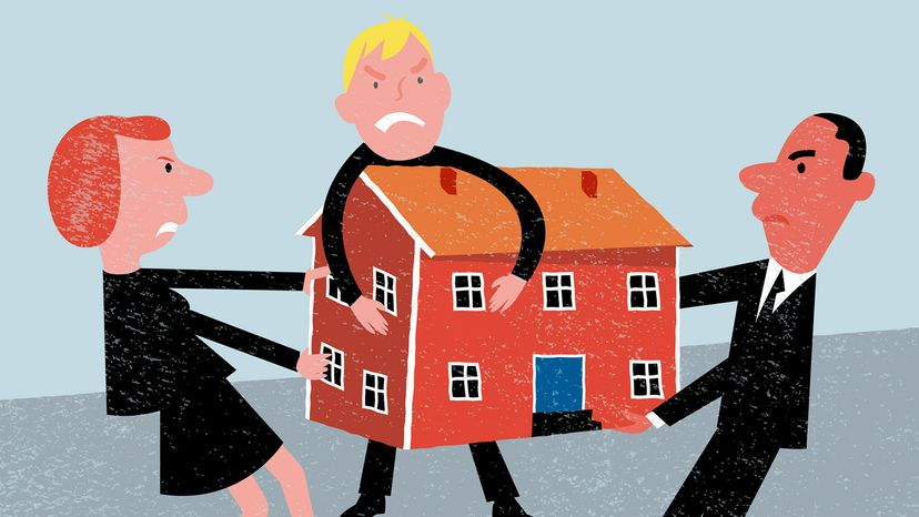 illustration of people fighting over house