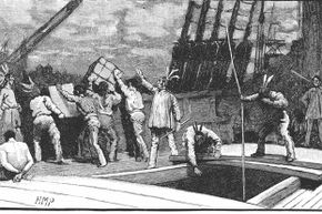You're looking at one of the more famous disguises that history has to offer: the Boston Tea Party protesters who disguised themselves as Native Americans before dumping all that tea.
