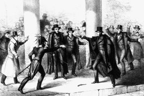This illustration shows Lawrence's attempt on President Andrew Jackson's life on Jan. 30, 1835.