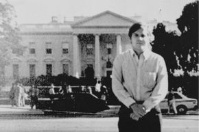John Hinckley, Jr. standing across the street from the White House in 1981.