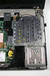 ©2008 HowStuffWorks                  The laptop's hard drive is in the lower right corner of the photo with the DVD drive above.