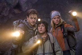 "Brendan Fraser, Josh Hutcherson and Anita Briem, stars of ""Journey to the Center of the Earth"""