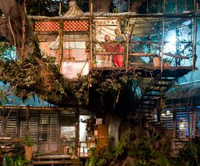 The tree house created for the movie uses solar and wind power.