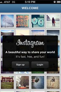 The Instagram opening screen on iPhone