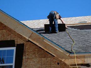 When installing fiberglass shingles, it's important to work your way up from the bottom edge of the roof.